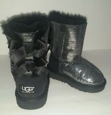 Ugg Boots Size 6 TODDLER Bailey Bow  Lizard Black Silver