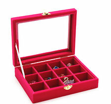 new  Velvet Glass Jewelry Ring Earring Display Organizer Box Holder Storage