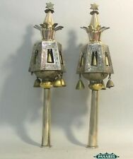 Pair Of North African Silver Torah Finials Rimonim Circa 1900 Judaica