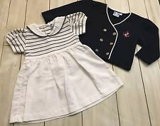 CARRIAGE BOUTIQUE Classic Navy Blue White Nautical Dress & Cardigan Set 18 Month