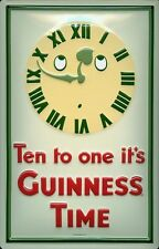 Guinness Clock Embossed 3D Metal Pub Bar Irish Licensed Sign Vintage Plaque