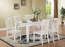 7pc set rectangular dinette dining table with 6 wood seat chairs in linen white