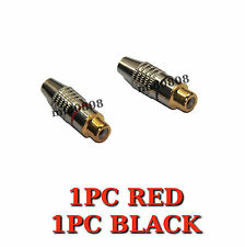 2 x RCA Female Plug Soldering Gold Audio Video Locking Cable Adapter Connector