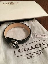 NEW Coach Black Leather Cuff Bracelet w/ Silver Turnlock Clasp