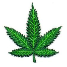 "MARIJUANA LEAF IRON ON PATCH 2.6"" Cannabis Pot Weed Hippie Embroidered Applique"
