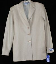 NWT Vintage Austin Reed Women's 6 Silk Linen Tan LS Button Up Career Blazer