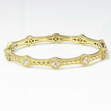 NYJEWEL Judith Ripka 18k Solid Gold Prong 0.6ct Diamond Bangle Bracelet