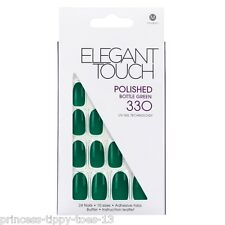 ELEGANT TOUCH 24 medium length polished false nails in 330 bottle green