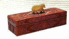 ANTIQUE 18c CHINESE RED CINNABAR LONG JEWELRY BOX PHOENIX MOTIF W/JADE HORSE