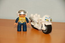 Lego Duplo Police Officer Cop w/ Motorcycle
