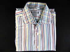 "NEW & LINGWOOD Mens 16"" Collar Regular Fit Colorful Striped Shirt Double Cuff"
