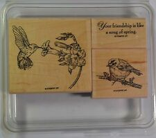 STAMPIN' UP! SPRING SONG hummingbird robin flower sentiment rubber stamps #2123
