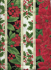 New Christmas Poinsettias and Holly Stripe 100% cotton fabric by the Fat Quarter