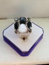 Fashion Ring With Black And White Stone & Square Shape Size 11