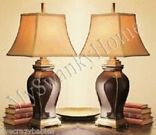 Posh OXBLOOD BURGUNDY Ceramic Table Lamp PAIR Set Large Red Bronze GUMPS Horchow