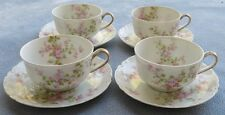 FOUR Cup and Saucer Sets Haviland Schleiger 29 Wild Roses Ranson Blank