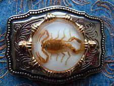 Fatto A Mano Scorpion Fibbia Della Cintura Oro Metallo Cowboy Del West Gotico