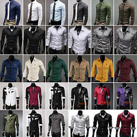 Fashion Mens Luxury Slim Fit Formal Dress Shirts Business T-Shirt Top Casual Tee