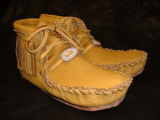 Buffalo Women's Size 8 Pawnee Style Moccasins Western indian Bison Leather