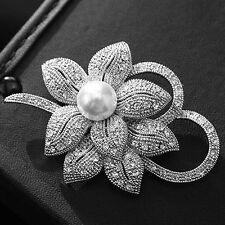 Strass Anstecknadel Damen Perle Kristall Blumen Brosche Brautschmuck Hochzeit
