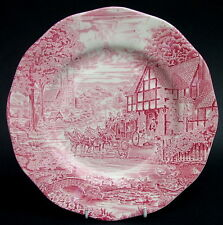 Vintage Enoch Wedgwood Dickens Coaching Days Pattern Red Dinner Plate 25cm Dia