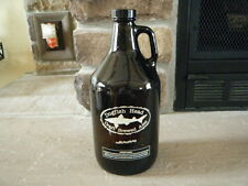 LARGE 64 OZ DOGFISH HEAD BROWN JUG GLASS GROWLER HANDLE NEVER USED  CRAFT BEER