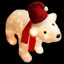 "36"" Polar Bear w Santa Hat & Scarf Lighted Tinsel Christmas Decoration"