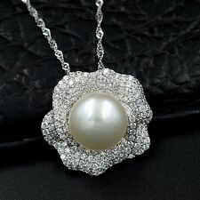 11m White Freshwater Pearl CZ Pendant Necklace Chain 925 Sterling Silver 07510