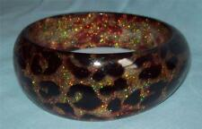Glitter Leopard Spots Poly chunk bangle: Fantabulous animal print bracelet NEW