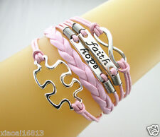 POPULAR Infinity/Faith/Hope/Autism Puzzle Charms Leather Braided Bracelet - Pink