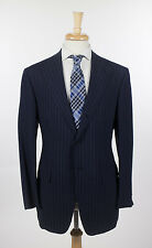 New D'AVENZA Navy Blue Striped 3 Roll 2 Button Wool Suit 50/40 R $3995