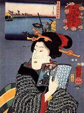 Dipinto ritratto UTAGAWA KUNIYOSHI Donna Geisha Giappone LIBRO poster stampa lv2812
