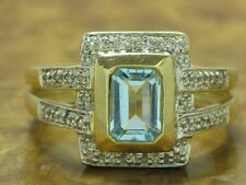 14kt 585 GOLD GELBGOLD RING BLAU TOPAS & 0,11CT DIAMANT BESATZ  GOLDRING