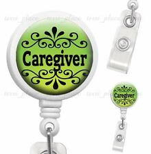 Caregiver Clip On Id Badge Reel Retractable Identification Card Holder White