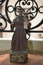 ANTIQUE WOODEN STATUE FIGURE SHRINE ST ANTHONY HANDMADE CIRCA 1790