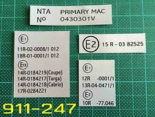 Porsche 911 930 Carrera SC 3.2 country type VIN code Labels