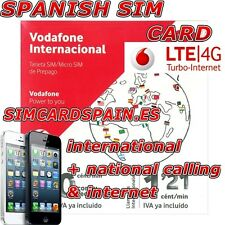 SPANISH PREPAID VODAFONE INTERNATIONAL 4G LTE SIM CARD PAYG INTERNET SPAIN