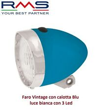 Faro/Fanale Anteriore Vintage calotta Blu - 3 Led per Bici 26-28 Single Speed
