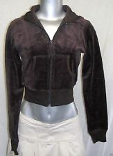 FULL TILT VELOUR ZIP FRONT CROP HOODIE JACKET BROWN 80%COTTON 20%POLY LARGE NWT