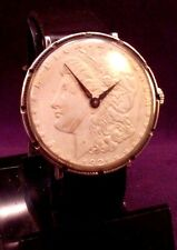 Serviced~1921 USA Morgan Silver Dollar REAL Coin Watch~17J Swiss~New Strap