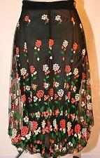 Vintage 1995 Comme des Garcons  Embroidered Black Sheer Skirt