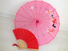 JAPANESE S PINK PARASOL RED PAPER HAND FAN CHINESE UMBRELLA WEDDING GIRL PARTY