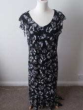 Gorgeous Fosby Black & White Floral Dress Full Length Size 18