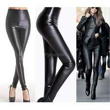 Hiver Femme Cuir Synthétique Extensible Leggings Skinny Taille Haute
