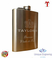 Photo / Text / Logo Engraved 3oz Stainless Steel Hip Flask FREE UK P/P