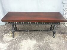 STUNNING WROUGHT IRON BENCH WITH ELEGANT GRAINED WOOD TOP