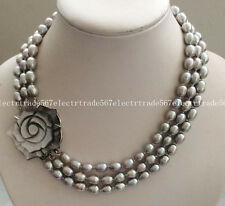 Women's Jewelry Fashion 3 Rows 8-9MM Gray Akoya Pearl Necklace 17-19""
