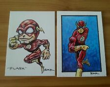 THE FLASH HAND DRAWN COLOUR SKETCH CARD BY RAK DC COMICS ACEO PSC