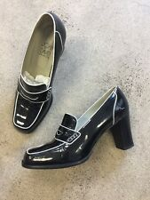 Joan & David Couture Sz 9.5 Patent Leather Loafers Heels Black And White