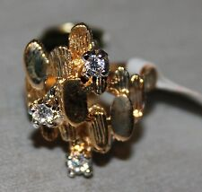 NICE NEW WOMENS FASHION YELLOW GOLD WITH CUBIC ZIRCON 18K HGE RING SIZES 7, 8, 9